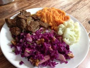 Rodekool rundvlees en bataat